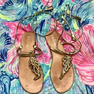 Lilly Pulitzer gold gladiator sandals shoes 7.5